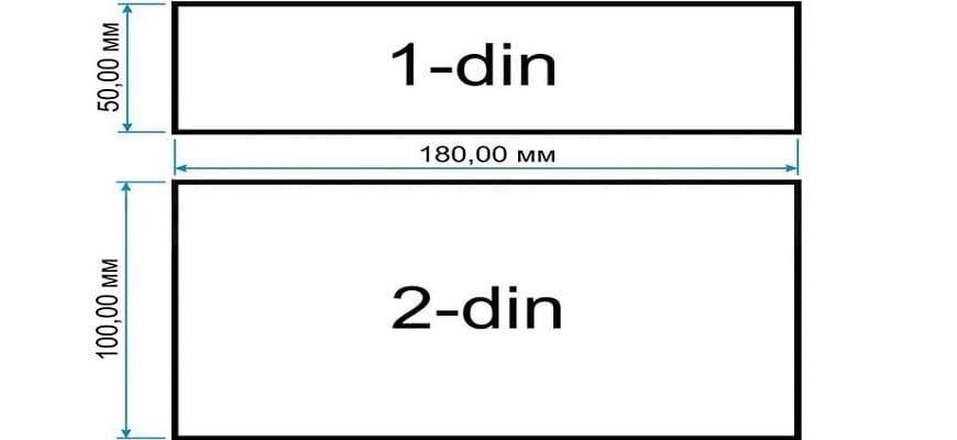 Размеры магнитол 2 din (1 дин)