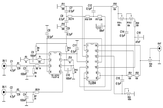 Схема активного фильтра для саба