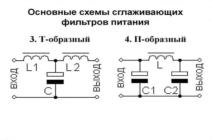 Схема сглаживающих фильтров питания