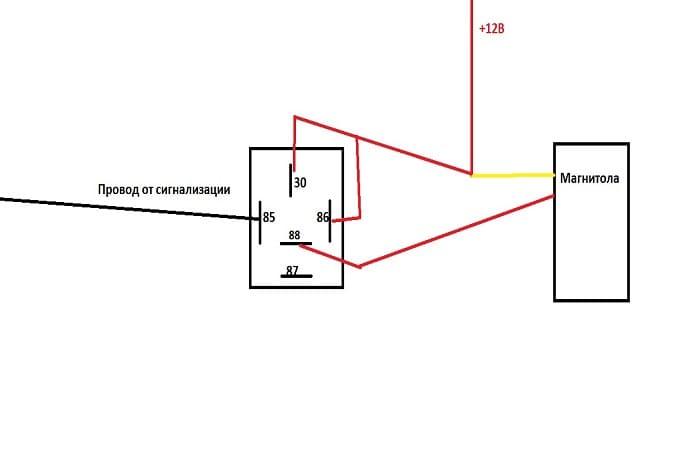 Схема подключения магнитолы через сигнализацию