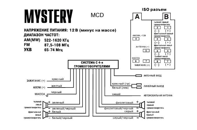 Схема подключения Mystery MCD