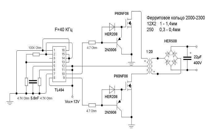 Схема преобразователя напряжения TL494