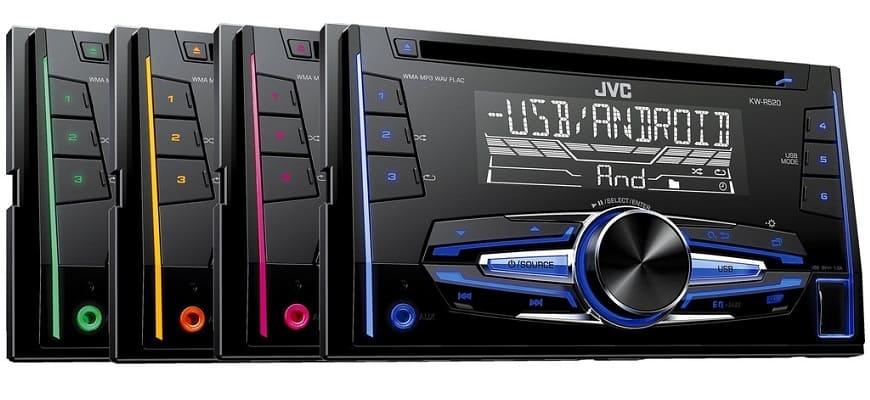 Магнитола JVC KW-R520 с массой - 1,6 кг